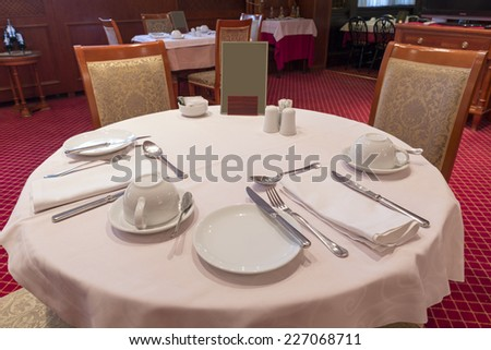 Table set for fine dining