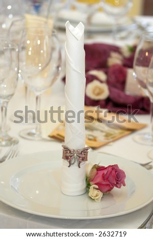 Table Set For Fine Dining During A Wedding Event. Shallow Depth Of ...