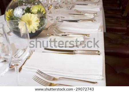 Table set for fine dining for a large group.