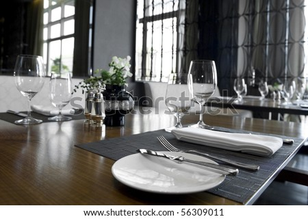 Table set on a fine restaurant