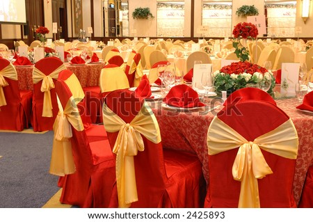 stock photo Table setting and decoration in a wedding banquet