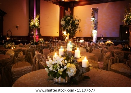 stock photo Table setting at a luxury wedding reception