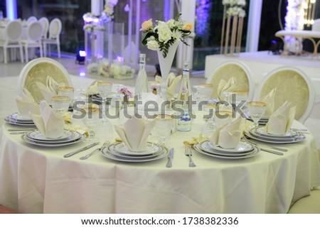 Table setting at a luxury wedding reception Zdjęcia stock ©