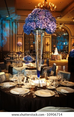 stock photo Table setting at a luxury wedding reception in a large