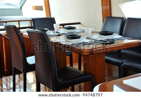 Table setting at a luxury yacht.
