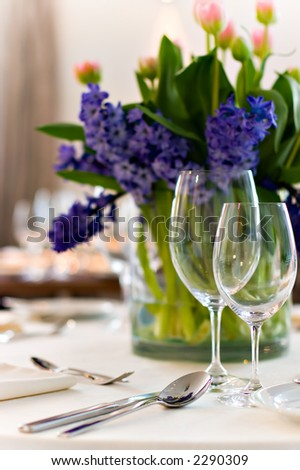 stock photo Table setting for a wedding or dinner event with flowers