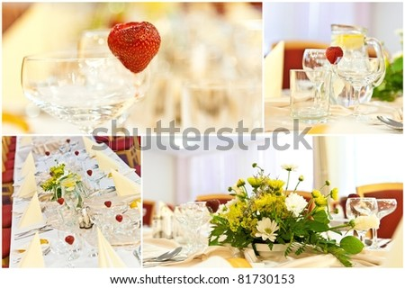 Table setting for a wedding or dinner event with flowers - collage of wedding table