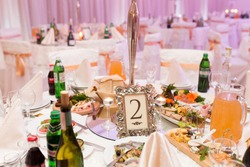 Table setting for an wedding reception in pink color