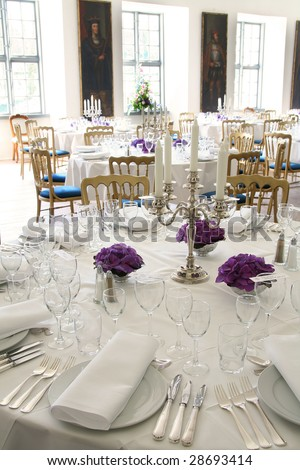 stock photo table setting for fine dining or party cutlery and plate in