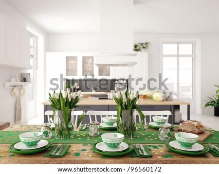 Table setting for St Patricks Day. 3d rendering