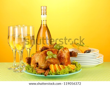 table setting for Thanksgiving day on orange background close-up
