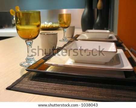 Table setting in a modern kitchen