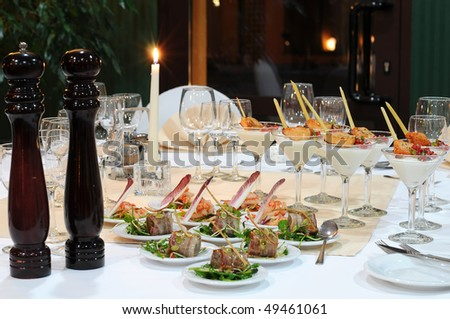 Table setting in luxury restaurant.