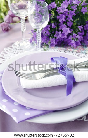 stock photo Table setting in purple color 4