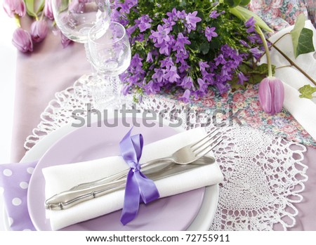 Table setting in purple color - 3