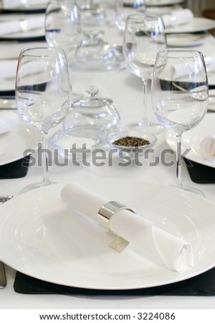 Table setting in the restaurant - stock photo
