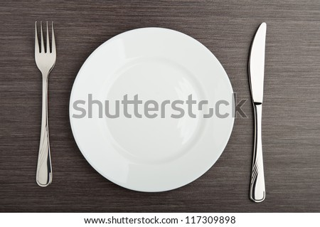 table setting. plate fork knife white empty #117309898