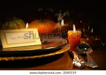 Table setting ready for Thanksgiving - stock photo