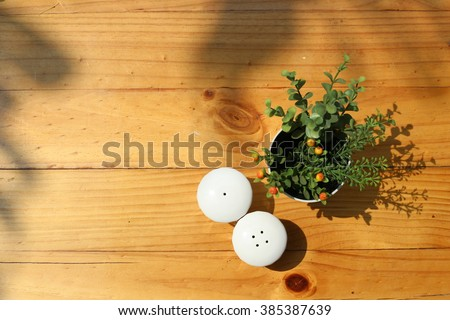 Table setting. Top view of pepper and salt shakers on wooden table decorated with artificial small plant in a vase. Shot in the morning sunlight, shadow of leaves on the scene.