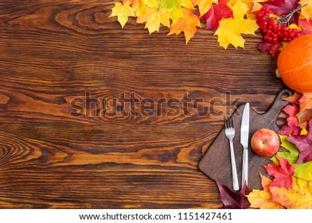 table setting with autumn decor. Autumn decor concept #1151427461