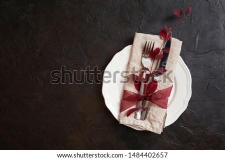 table setting with autumn decor. Autumn decor concept