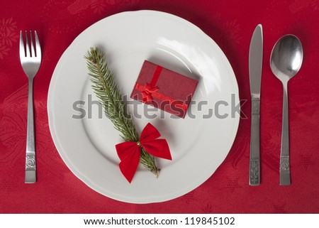 Table Setting with little red gift