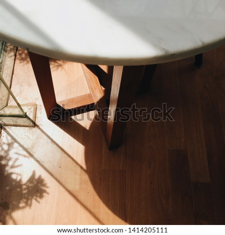 table, shadow, white, decor, palm, background, ghost, coffee, view, top, space, decoration, tree, design, wooden, leaf, sun, wall, floor, shadows, closeup, wood, light, nobody, silhouette, clean, empt