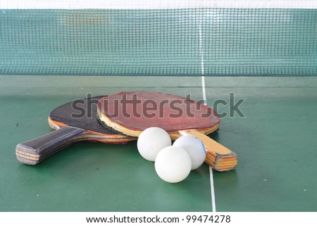 Table tennis ball and net