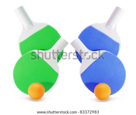 Table Tennis Bats and Balls on White Background