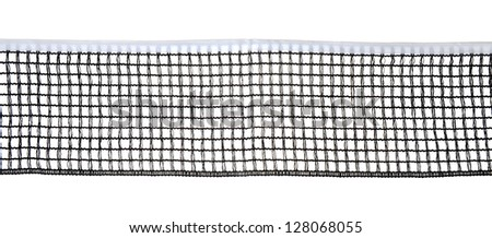 Table tennis net closeup, isolated on white background