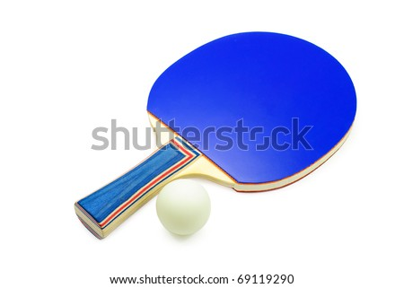 Table tennis racket and ball. Isolated on a white background.