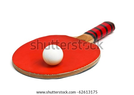 Table tennis racket and ball over white background