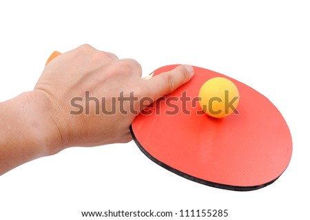 Table Tennis Racket and Ping Pong Ball with clipping path