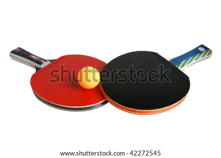Table tennis rackets and ball isolated on the white background