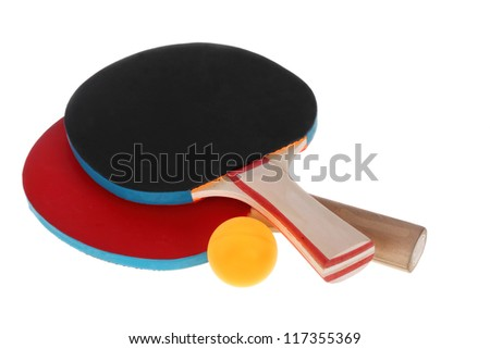 Table tennis rackets and ball on a white background