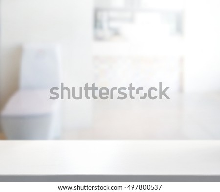 Table Top And Blur Bathroom Of The Background #497800537