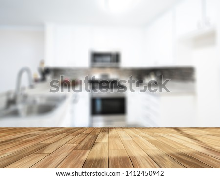 Table Top And Blur Interior of The Background. For montage product display or design key visual layout. - Image #1412450942