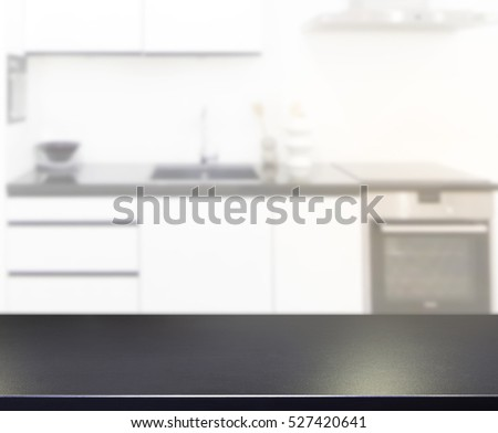 Table Top And Blur Kitchen Room Of The Background #527420641