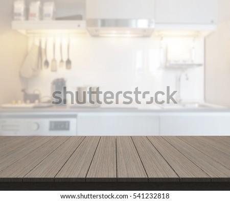 table top and blur kitchen room ...