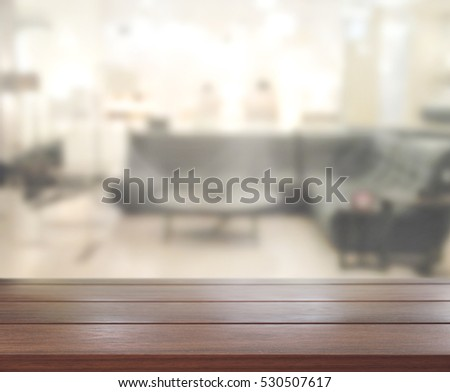 Table Top And Blur Living Room Of The Background #530507617