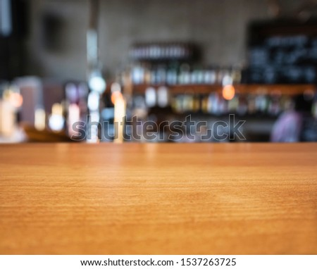 Table top Bar counter Beer tab Blur background