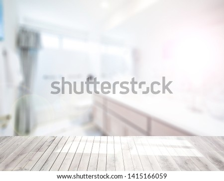 Table top on blur kitchen room or bathroom background .For montage product display or design key visual layout. - Image #1415166059