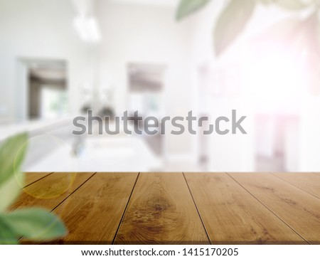 Table top on blur kitchen room or bathroom background .For montage product display or design key visual layout. - Image #1415170205