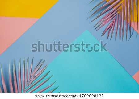 Photo of Table top view aerial image of summer season holiday background concept.Flat lay coconut or palm colorful leaf on modern rustic pastel paper backdrop.Free space for creative design mock up for content