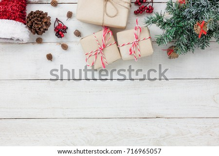Table top view of ornaments and decoration  Merry Christmas and Happy New Year.several sign item on modern rustic white home office desk.space for creative design text and word.object for seasonal. #716965057