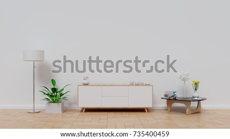 Table TV with white screen wall on the wall in modern living room. 3d rendering