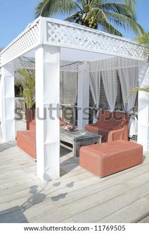 Table under pergola at nice beach front restaurant