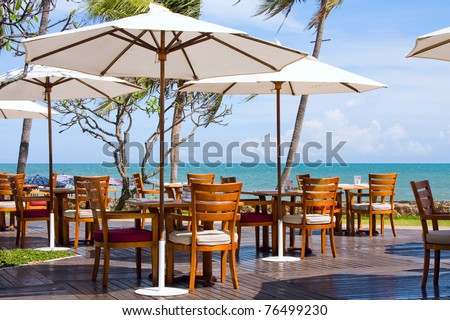Table with a beautiful sea view . Thailand .