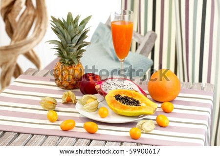 table with a mix of exotic fruits