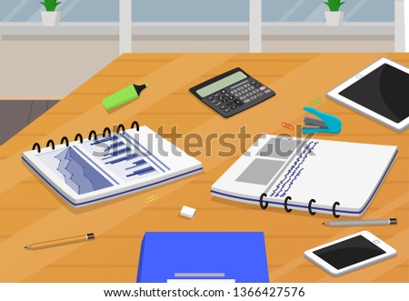 Table with business supplies notebooks on papers and information stapler calculator stationaries object pen pencil stationary collection raster illustration